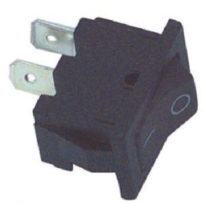 Wipschakelaar zwart aan/uit 2 polig inbouwmaat 12,5 x 20mm
