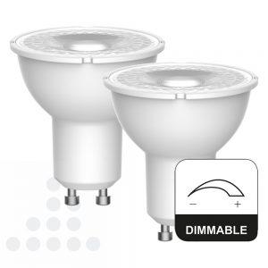 Energetic LED GU10 4,9w 345 lumen 2 stuks witte achterkant dimbaar