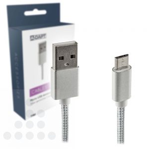 A-Dapt Micro USB laad- en datakabel zilver gevlochten kabel T180