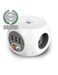 Ewent Power Block wit 3 randaarde en 3 USB poorten