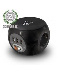 Ewent Power Block zwart 3 randaarde en 3 USB poorten